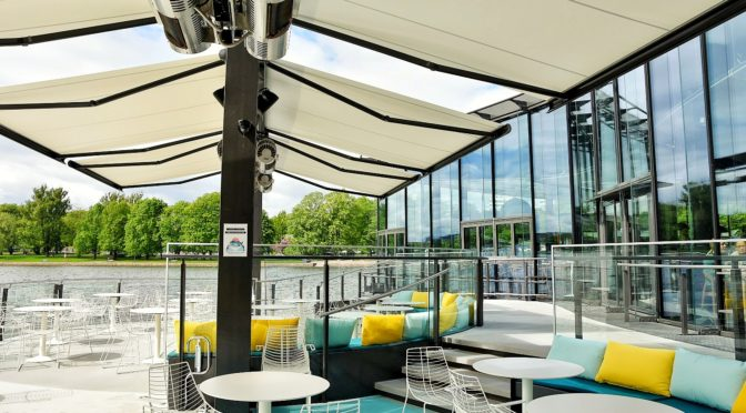 A unique floating terrace is open